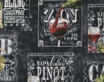 Three (3) Yards- Wine List by Robert Kaufman Fabrics AGA-70749-2 Black