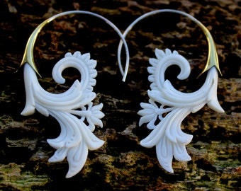 Fake Gauge Earrings - NEW bone Tribal Hand Made Fake Piercings Organic