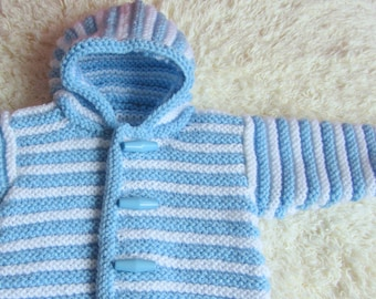 Hand Knit Hooded Baby Sweater