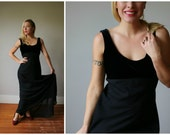 1990s Flowing Black Evening Dress~Size Small to Medium