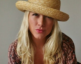 ON SALE 1960s Straw Bowler Hat >>> Curved Brim
