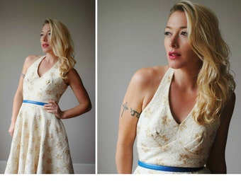 ON SALE >>> 1950s Snowflake Halter Dress~Size Extra Small