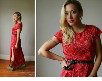 1970s Red Bandana Dress~Size Small to Medium