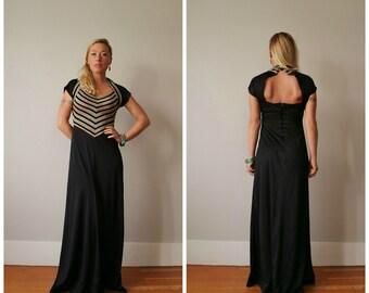 1970s Sparkle Halter Dress~Size Small to Medium