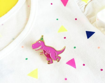 Pink Dinosaur Enamel Pin - Tyrannosaurus Rex Jurassic Park dino T-Rex party hat lapel