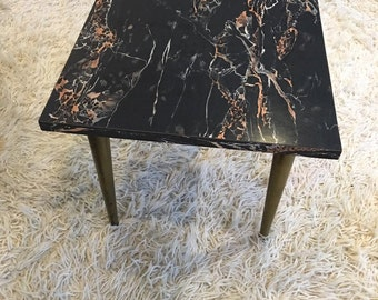 Faux Marble Mid Century Side Table