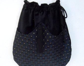 Cross Body Navy  Boho Bag  Drawstring Bag  Black Velvet Bag  Bohemian Bag  Crossbody Purse
