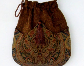 Tapestry Bohemian Drawstring Bag  Bronze Crossbody Bag    Bohemian Bag  Boho Bag Hippie Purse