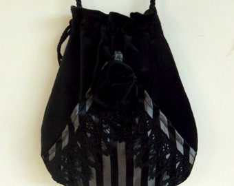 Black Velvet And Lace  Pocket Boho Bag Taffeta Drawstring Bag   Bohemian Bag  Crossbody Purse