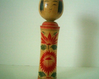 Vintage Naruko Kokeshi Doll with Chrysanthemums