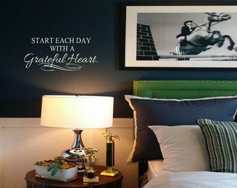Start Your Day with a Grateful Heart Wall Decal Quote Wall Sticker