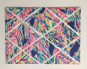 New memo board made with Lilly Pulitzer Blue Palm Reader