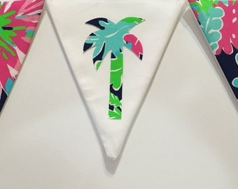 Custom Flag Banner, Bunting made with Lilly Pulitzer Sippin and Trippin fabric