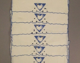 MADEIRA Cocktail  Napkins ROOSTERS 8 pcs Set LINEN Appliquee Spain 1950s  7 1/4 X4 1/2 in hand embroidered