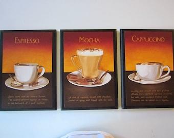 Mocha Cappuccino Espresso wall decor plaques kitchen coffee recepe pictures