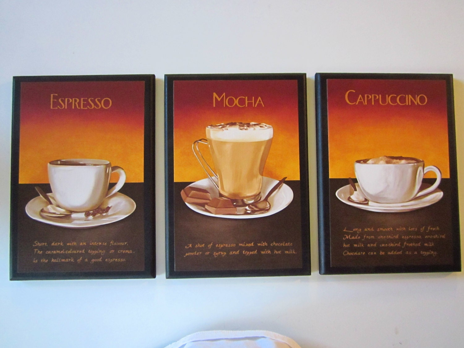 Mocha Cappuccino Espresso Wall Decor Plaques Kitchen Coffee