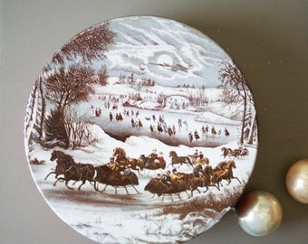 Vintage Currier Ives Christmas Tin Winter in Central Park Cookie Container Gift Box Snow Scene Horse and Sleight