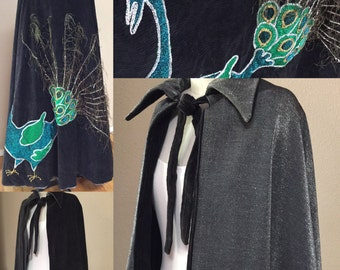 Black and Silver Cape, Halloween Costume, theater, peacock costume, Reversable cape.