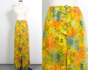 VTG 60's Hippie Floral Double Layer Skirt (Large / Extra L) Bright Yellow Maxi Blue Pink Orange Flower Print Slit Skirt Chiffon Boho Vintage