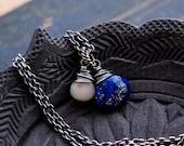 Lapis Lazuli Necklace, Lapis Lazuli, Lapis Pendant, Cobalt Gemstone, Gemstone Necklace, Sterling Silver, Ethiopian Opal, PoleStar, Ra