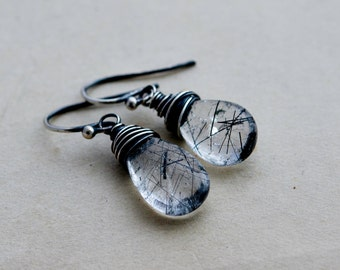 Tourmalinated Quartz, Black Tourmalinated, Drop Earrings, Dangle Earrings, Wire Wrapped, Sterling Silver, Gemstone Earrings, Crystal,