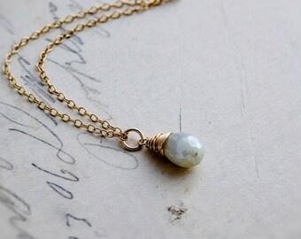 Prehnite Necklace, Gold Necklace, Gemstone Necklace, Prehnite Pendant, Mint Green, Pastel Green, PoleStar, Gemstone Jewelry, Wedding Jewelry