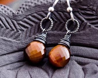 Tigers Eye Earrings, Tigers Eye, Drop Earrings, Dangle Earrings, Caramel Brown, Sterling Silver, Wire Wrapped, PoleStar
