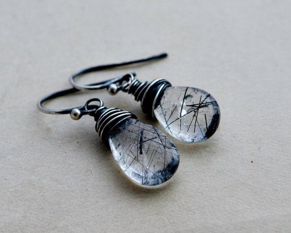 Tourmalinated Quartz, Black Tourmalinated, Drop Earrings, Dangle Earrings, Wire Wrapped, Sterling Silver, Gemstone Earrings, Crystal,