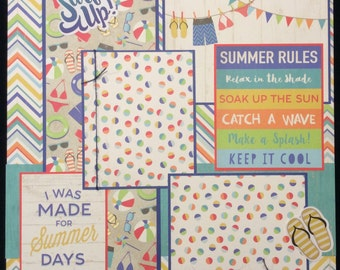 Summer Scrapbook Layout, Single Page Layout,  Premade Scrapbook Page, Summer Vacation Page, Pool Scrapbook Page