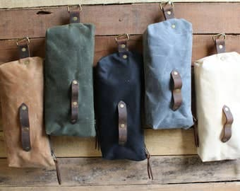 Waxed canvas pencil pouch travel case
