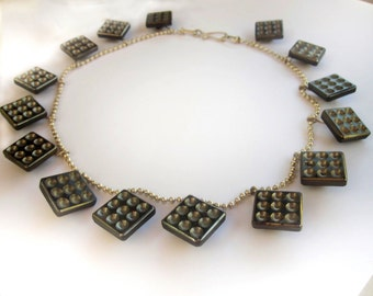 elegant Vintage Czech glass button necklace - square domino buttons on sterling silver bead chain