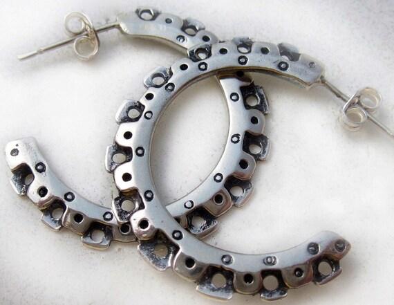 fabulous southwest steampunk sterling silver Gear hoop earrings - original Cosmo's Moon design