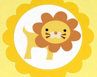 Lion Birthday Favor Tags, Set of 12, Yellow