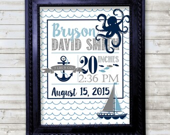 Nautical Nonsense baby birth announcement wall art print, great for a nursery