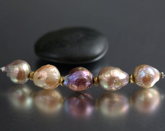 Baroque Pearl Beads - 13mm - Baroque Pearls - Chinese Kasumi Ripple Pearls