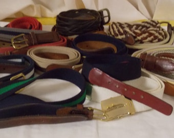 Vintage lot of 15 mens belts SIZE 38 leather laced braided & woven solid with stripe brass buckles