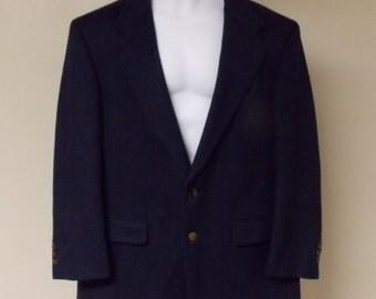 100% pure cashmere wool navy blue Bill Blass sport coat XL 46/48 Long