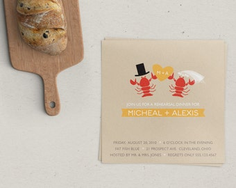 Lobster Wedding Rehearsal Invitation
