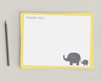 Thank You Notes | New Baby | Elephant | Yellow and Gray | Baby Shower