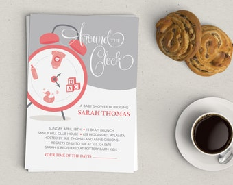 Around the Clock Baby Shower Invitation | Girl, Boy or Gender Neutral | Digital File or Printed Invitations