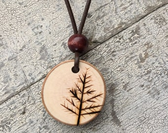 Maple Branch Woodburned Tree Pendant on Leather Cord Necklace