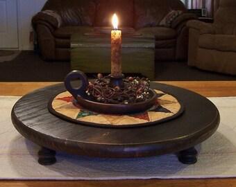 Primitive Large Round Riser Bench Farmhouse Table Centerpiece Lamp Black / Color Choice