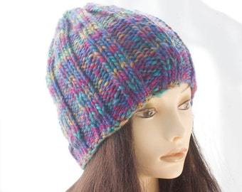 SALE, Ribbed Chunky Hat, Thick Soft Winter Hat, Blue Purple Crochet Hat, Multi Color Women's Hat, Ready to Ship
