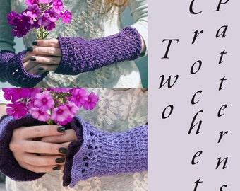 Two Fingerless Gloves Crochet Patterns,  Crochet Wrist Warmers PDF Pattern, Instant Download, Boho Ruffle Gloves, Gauntlets