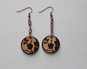 Rustic Wood Earrings Dog Wood Tree Flower Blossoms in Nature Design Wood Burned Round Double Sided