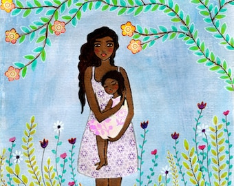 Mother Painting, Mother and Child Art, Wooden Art Block, Black Mother Daughter Art, Mother Daughter Gift, Motherhood Painting