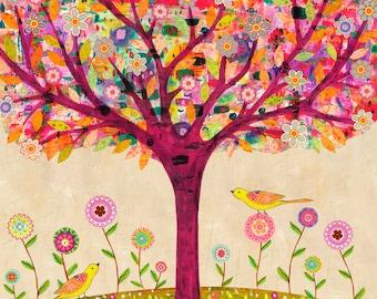 Sunny Tree Art Print  - Large Art Print - Tree Art - Tree Painting - Tree Wall Art - Home Decor - Large Tree Painting - Large Painting