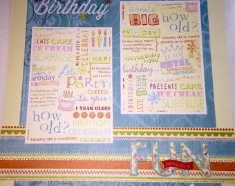 IT'S A BIRTHDAY 12 x 12 premade scrapbook page - Birthday Fun