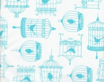 Timeless Treasures Tweet Birdcages in Aqua and White - Half Yard