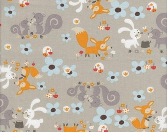 RJR Fabrics Little Friends Forest Critters in Gray - Half Yard